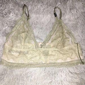 Victoria secret green unlined Bralette lace NWT